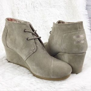 be6a26956c7 NWT Toms desert wedge bootie taupe suede sz 9